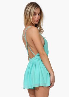 Mint Green Spaghetti Strap Backless Pleated Jumpsuits EUR€26.16
