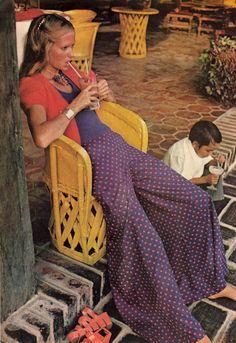 Polka dotted bells @Harper's Bazaar 1972 #vintage #fashion #70s
