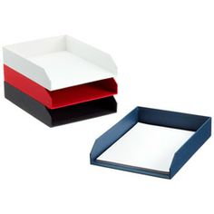 These are great for those visual people who are like the color ques. The Container Store > Classic Stockholm Stacking Letter Tray