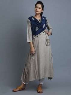 Beige Navy Rayon Cotton Kurta with Attached Tie and Dye Dupatta