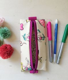 Vintage Girl Floral Fabric Pencil Case Binder by SewSugarBeans