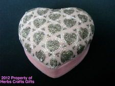 Beaded Box HEART SHAPED PINK Velvet Jewelry Trinket Treasures Made by GAC 1999