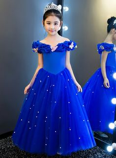 In Stock:Ship in 48 hours Blue Off The Shoulder Tulle Girl Dress In Stock:Ship in 48 hours Blue Off The Shoulder Tulle Girl Dress,cenicienta In Stock:Ship in 48 hours Blue Off The Shoulder Tulle. Girls Frock Design, Kids Frocks Design, Baby Frocks Designs, Baby Dress Design, Kids Gown Design, Frocks For Girls, Gowns For Girls, Dresses Kids Girl, Little Girl Gowns