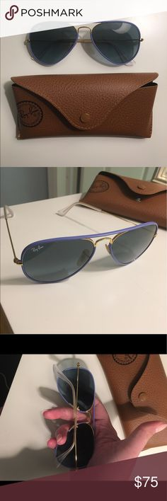 Ray-Ban Aviators Authentic Ray-Ban 'Full Color' Aviators with blue acetate rims. Like new and super cute! Comes with brown leather case and packaged cleaning cloth. Ray-Ban Accessories Sunglasses