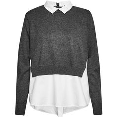 French Connection Fresh Knits Shirt Jumper (145 AUD) ❤ liked on Polyvore featuring tops, sweaters, blouses, shirts, long sleeves, grey, women, knit shirt, grey collared shirt and grey sweater