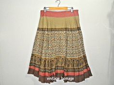 vintage fitted flared midi skirt in pinkgreen by VintageHomage, $23.00
