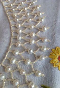 Ivory Pearl Beaded Choker Necklace - Jewelry Making - Zardozi Embroidery, Bead Embroidery Patterns, Hand Work Embroidery, Bead Embroidery Jewelry, Beaded Jewelry Patterns, Geometric Jewelry, Beaded Embroidery, Beading Patterns, Embroidery Designs