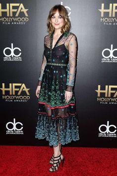 Dakota Johnson in Gucci at the Hollywood Film Awards