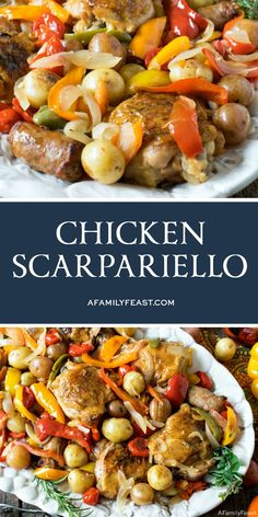 Low Carb Recipes To The Prism Weight Reduction Program Chicken Scarpariello Is An Easy Dinner Made With Chicken, Sausage, Peppers, And Potatoes In A Fantastic, Zesty Sauce. Recipes With Chicken And Peppers, Sausage And Peppers, Stuffed Peppers, Chicken Sausage Recipes, Recipe Chicken, Chicken Pieces Recipes, Italian Dishes, Italian Recipes, Pollo Kung Pao
