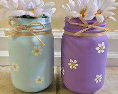 Daisy mason jars daisy vase spring vase flower vase Mother's Day gift hand painted gift for mom rustic spring decor rustic decor. Jar Crafts, Bottle Crafts, Crafts For Kids, Diy Father's Day Gifts, Mother's Day Diy, Homemade Mothers Day Gifts, Mason Jar Gifts, Mason Jar Diy, Diy Jars