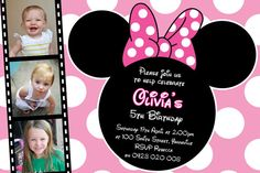 Personalised Minnie Mouse Birthday Invitations by InvitesByBec