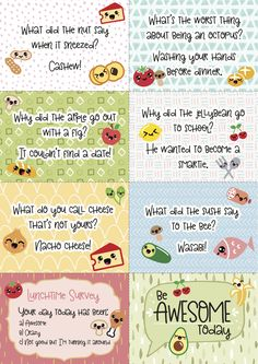 Who wants some free, printable super-kawaii (cute) lunchbox notes and jokes? Perfect for popping in a Bento box. Lunchbox Notes For Kids, Lunch Box Notes, Cute Lunch Boxes, Whats For Lunch, Magazines For Kids, Kawaii Cute, Bento Box, Jelly Beans, Free Printables