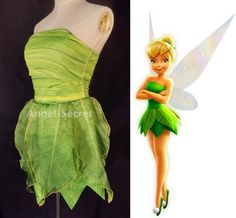 P356 Tinkerbell costume women cosplay leafy print dress · angel-secret · Online Store Powered by Storenvy