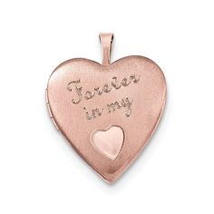 14k Rose Goldplated Sterling Silver Forever in My Heart Pendant Locket (Rose), White