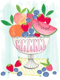 Flora Waycott, an illustrator from New Zealand, made this colorful fruit bowl. In Flow Weekly #34 you'll find a tutorial how to draw this and on our blog she tells more about her work and life in Wellington.