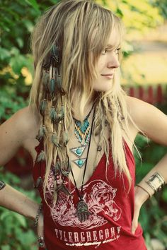 CUSTOM Cascading Leather & Feather Extension Hair by MoondialGypsy