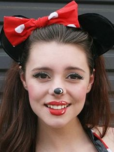 Easy Minnie Mouse or cat make up! Red lipstick, black eye liner ...