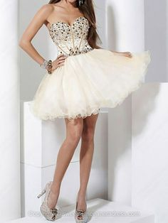 Sweetheart A-line Tulle Short/Mini Beading Sweet Sixteen Dresses -USD$112.29