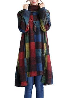Long Sleeve Asymmetric Hem Plaid Print Shift Dress  on sale only US$28.74 now, buy cheap Long Sleeve Asymmetric Hem Plaid Print Shift Dress  at lulugal.com