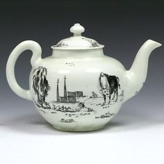 Worcester teapot pencilled with the Boy on a buffalo desing.