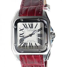 See more detail about CARTIER Stainless Steel Crocodile Santos 100 Automatic Watch..