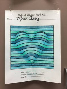 Op illusion heart Possible activity for Mother's Day Cards Middle School Art, Art School, Op Art Lessons, Illusion Kunst, Art Optical, Optical Illusion Art, Optical Illusions For Kids, Classe D'art, 5th Grade Art