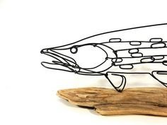 Fish Wire Sculpture Northern Pike Sculpture Fish by WiredbyBud