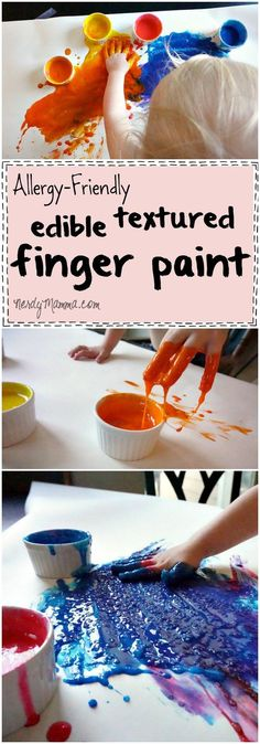 I absolutely love this easy recipe for gluten-free (and other allergy-friendly) edible textured finger paint. It's so ridiculously easy!