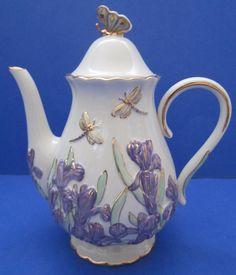 Lenox Springtime Splendor Teapot Iris Butterfly Dragonfly Artist Signed NIB COA | Pottery & Glass, Pottery & China, China & Dinnerware | eBay!