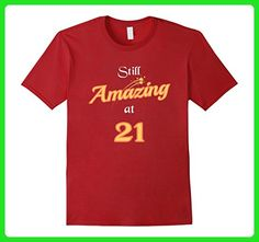 Mens Still Amazing At 21: Happy 21st Birthday Gifts T-Shirt Small Cranberry - Birthday shirts (*Amazon Partner-Link)