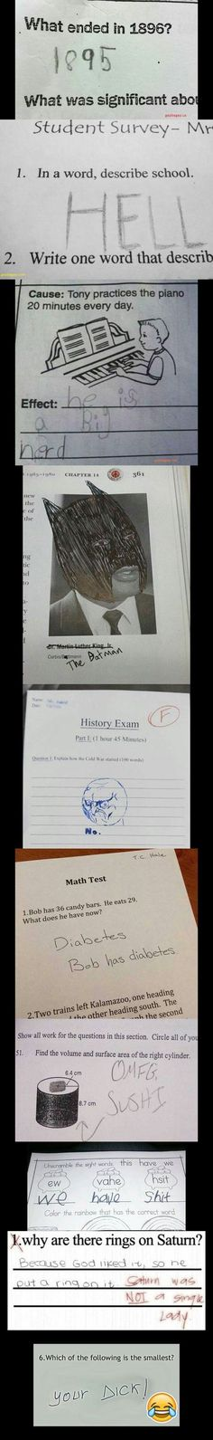 Top 10 Funny Meme About Smartass Kid vs. Test Answers