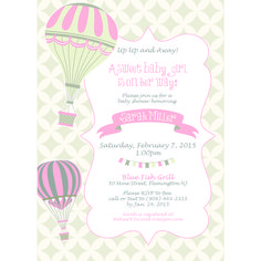 Printable Vintage hot air balloon baby shower invitation in PINK! I can make this card whatever color you want. $10.00  www.pattycakespapers.etsy.com