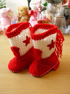 Western Cowboy Baby Booties Boots Crochet Red by disliltreasures,