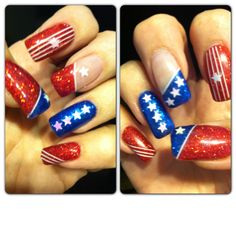 Left & right hand - Fourth of July nail art design - blue and red glitter - white holographic stars & white stripes! Love these compliments of Nails-Go-Round in Tucson AZ - Pauline is great at her craft!! Happy 4th of July