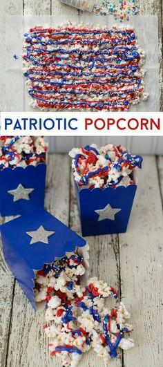 Patriotic Popcorn - Patriotic Popcorn, memorial day or of july party ideas . - Patriotic Popcorn – Patriotic Popcorn, memorial day or of july party ideas Patriotic Popcorn - Patriotic Desserts, 4th Of July Desserts, Fourth Of July Food, 4th Of July Celebration, Patriotic Party, Patriotic Crafts, July Crafts, 4th Of July Party, 4th Of July Ideas
