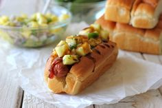 Bacon Wrapped Teriyaki Hot Dogs with Pineapple Salsa