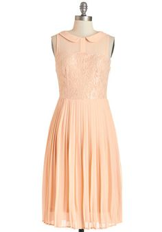 Dreamy in Peach Dress - Orange, Solid, Lace, Special Occasion, Prom, A-line, Sleeveless, Summer, Woven, Better, Collared, Long, Chiffon, Lac...