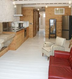 moderne kleine Wohnung einrichten stilvolle Holz Küche