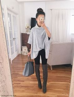 Poncho Sweater, Black Leggings, And Over The Knee Boots
