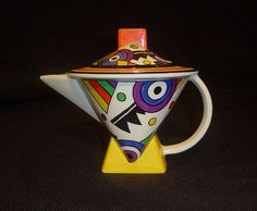 Clarice Cliff Teapot, I really like the geometric shapes on this tea pot as it…