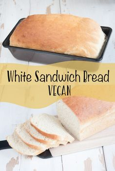 Nothing is better than freshly baked, warm, homemade bread! This fluffy vegan White Sandwich Bread is easy to make and smells amazing! Dairy Free Recipes, Vegetarian Recipes, Cooking Recipes, Tofu Recipes, Cooking Tips, Vegan Foods, Vegan Dishes, Sandwich Bread Recipes, Vegan Sandwiches