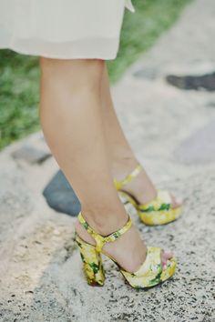 pretty yellow bridesmaid shoes