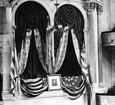 The President's Box at Ford's Theater  This is a photograph of the Presidential Box at Ford's theater where Lincoln was assassinated.  The picture was taken in April, 1865, shortly after the assassination.