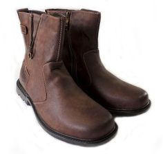 Mens Size 10.5 Cherokee Slip On Boots Brown Leather Stylish Casual ...