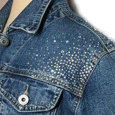 Ethyl Embellished Denim Jacket Large Stretch Western Trucker Rodeo Cowgirl Boho #EthylVintageDenim #JeanJacket