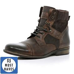 Dark brown contrast panel military boots - boots - shoes / boots - men £65