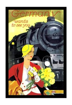 Details about Vintage Germany Train Travel Canvas Poster Art Old Poster, Retro Poster, Poster Art, Kunst Poster, Poster Design, Art Deco Posters, Canvas Poster, Train Posters, Railway Posters