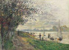 Claude Monet (1840-1926) La berge du Petit-Gennevilliers, soleil couchant
