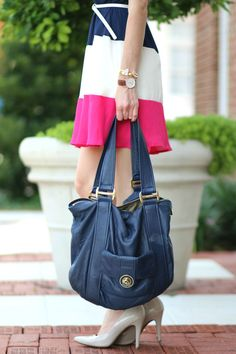 Obsessed with this navy, white, and fuchsia combo.