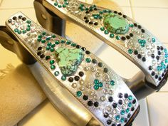 stirrups with turquoise and crystals